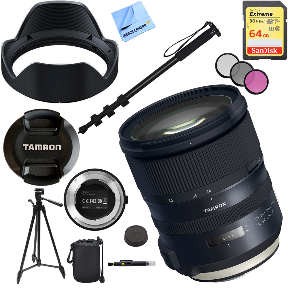 Tamron SP 24-70mm f 2.8 Di VC USD G2 Lens for Canon Mount with TAP-IN Console Plus 64GB Accessories Kit by Tamron