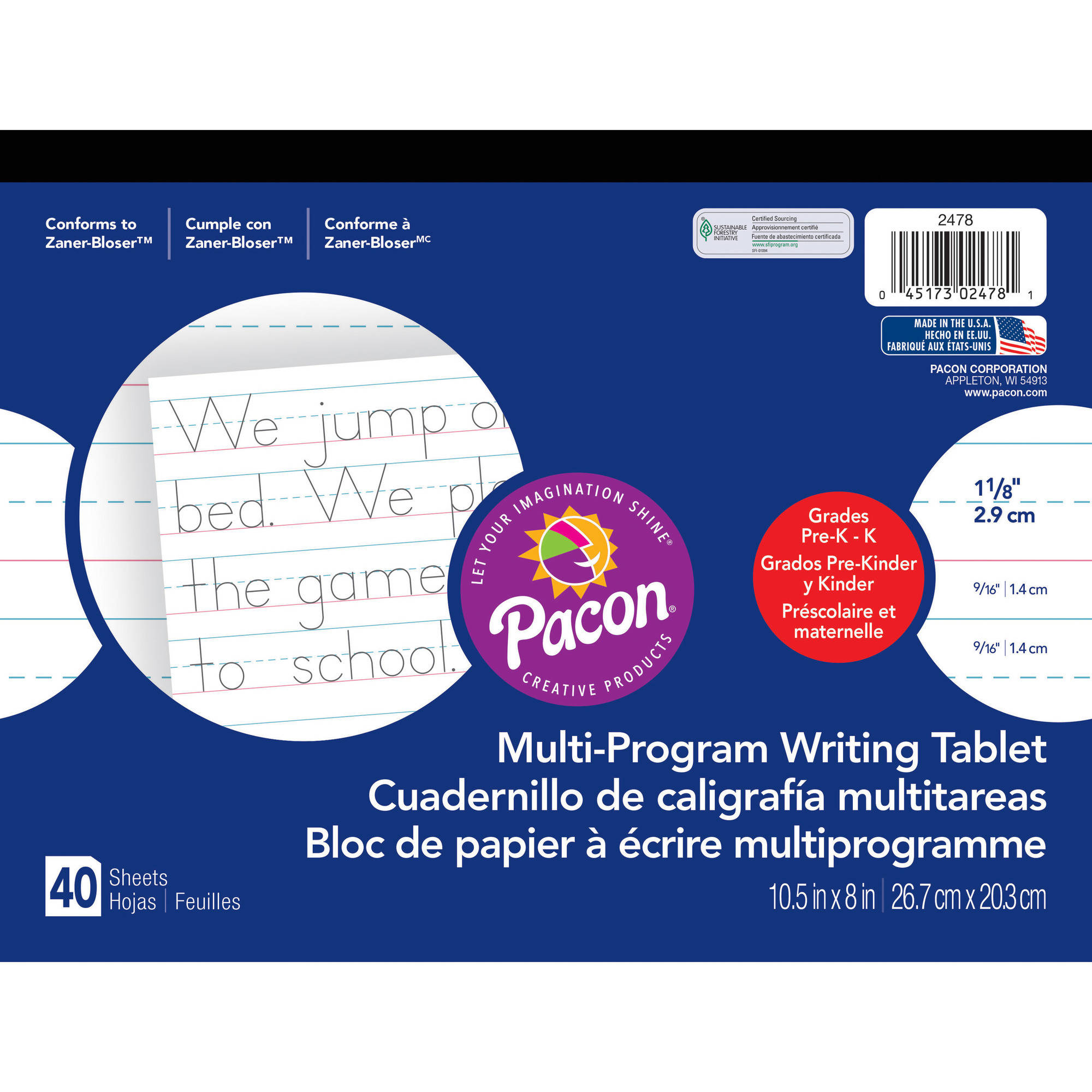 (4 Pack) Pacon Handwriting Paper Tablet, Multi-Program, Ruled Long, 40 Sheets