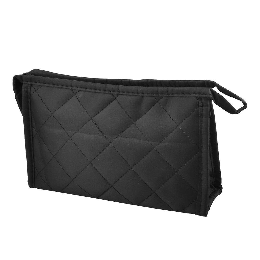 Check Pattern Zipper Makeup Black Cosmetic Bag for Women