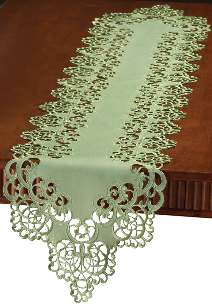Floral Scroll Cut-out Table Linens, Runner, Sage Green by Collections Etc