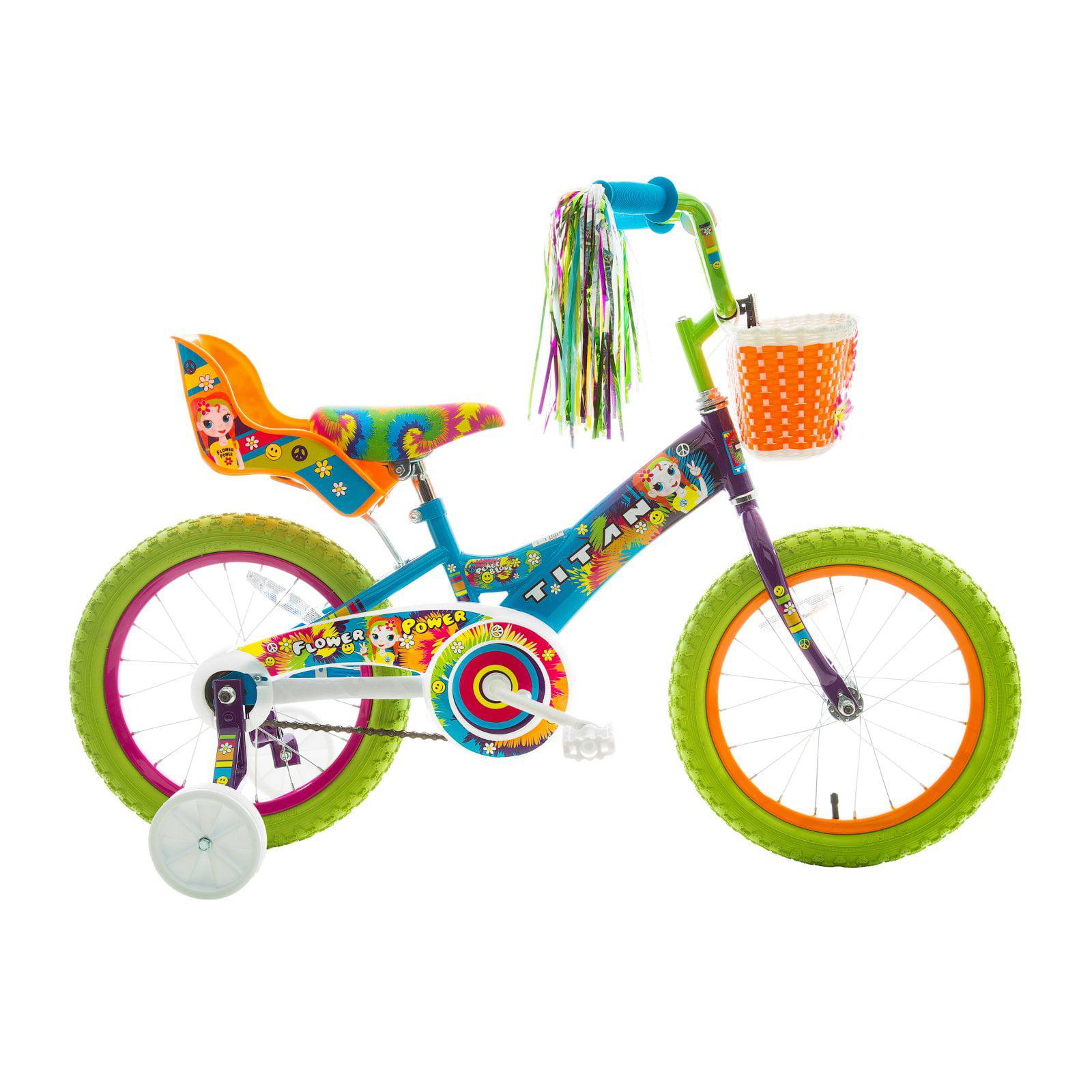 "Titan Girl's Flower Power Princess 16"" BMX Bike with Training Wheels, Doll Seat,... by Titan"