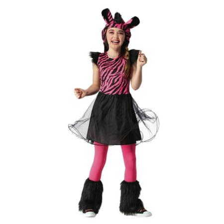 Girls Zebra Halloween Costume Dress Hood Tail & Leg - Halloween Lied Noten