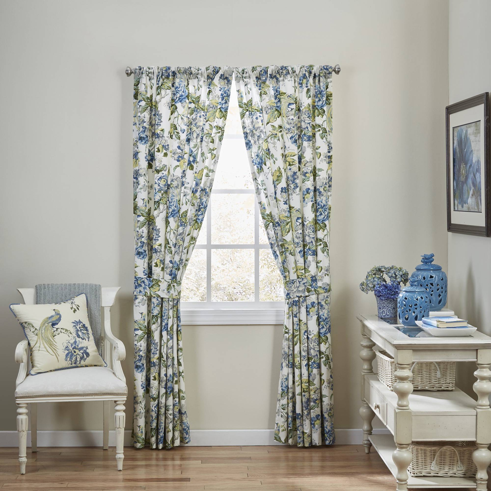 Waverly Floral Engagement Floral Window Drapery Pair