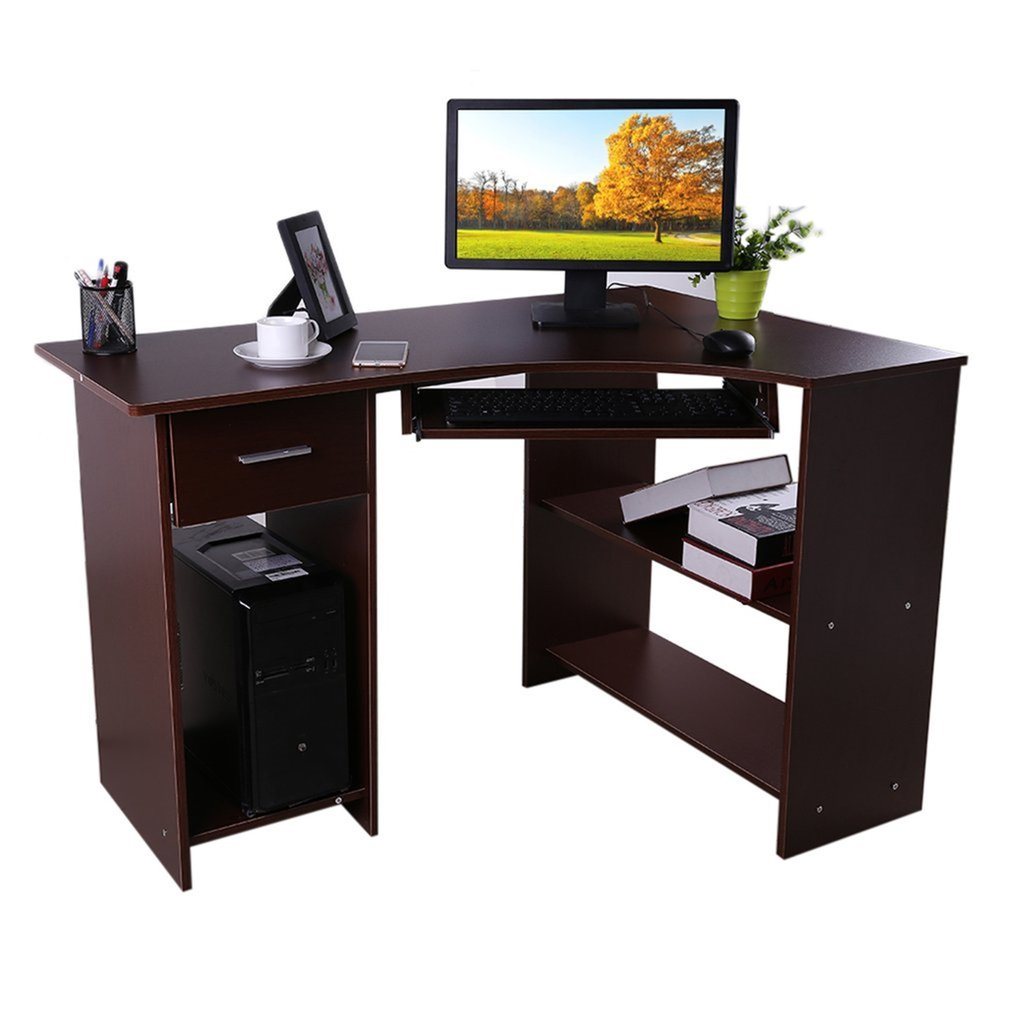 Study Workstation Corner Computer Table Office Home Desk Keyboard Tray Brown