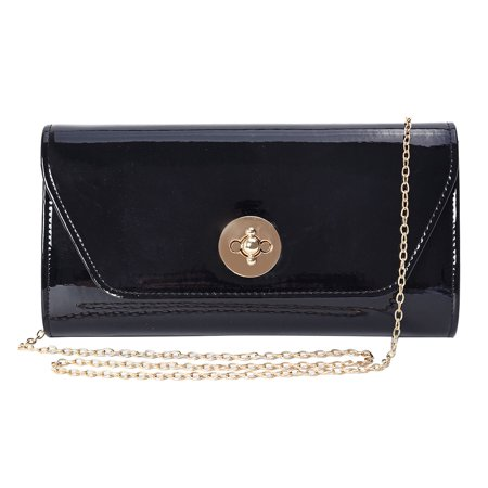 Women Fashion Black Faux Patent Leather Small Size Wallets Clutch Bag Crossbody Bag Shoulder Chain Mothers Day Gifts