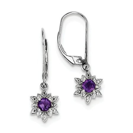 925 Sterling Silver Genuine Diamond And Amethyst Dangle Leverback Earrings  0 01 Cttw  I J Color  I2 Clarity