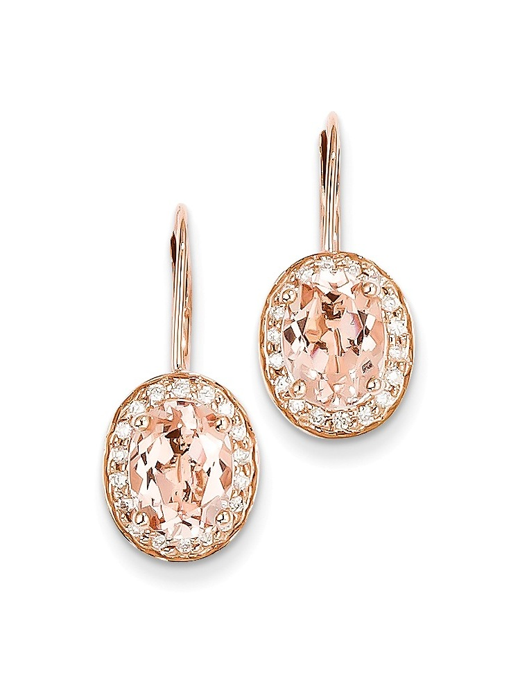 ICE CARATS 14kt Rose Gold Pink Morganite Diamond Leverback Earrings Lever Back Drop Dangle Fine Jewelry Ideal Gifts For... by IceCarats Designer Jewelry Gift USA