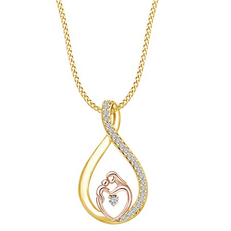 Mother's Day Jewelry Gifts White Cubic Zirconia Two Tone Infinity Mom and Child Heart Pendant Necklace 14k Yellow Gold Over Sterling (Mom Child Jewelry)