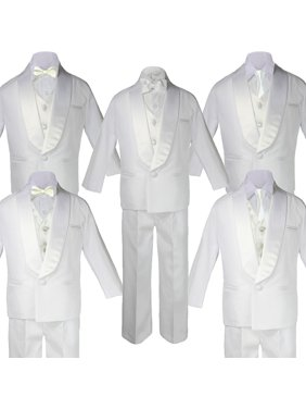 5-7pc Boy Teen White Shawl Lapel Party Suits Tuxedo IVORY Satin Bow Necktie Vest