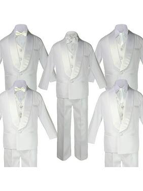 5-7pc Boy Teen White Shawl Lapel Party Suits Tuxedo IVORY Satin Bow Necktie Vest