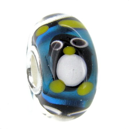 Queenberry Sterling Silver Penguin European Style Glass Bead Charm Fits Pandora