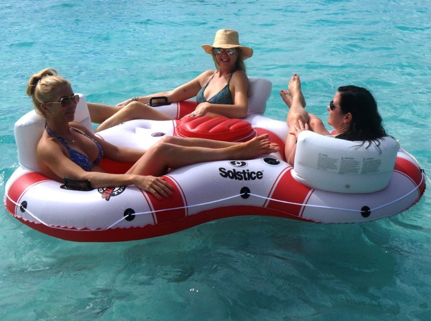 "81"" Solstice Super Chill Trio 3-Person Inflatable Swimming Pool Float with Cooler by Swim Central"