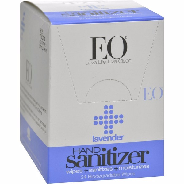 Eo Products Hand Sanitizer Wipes - Lavender - Pack of 24