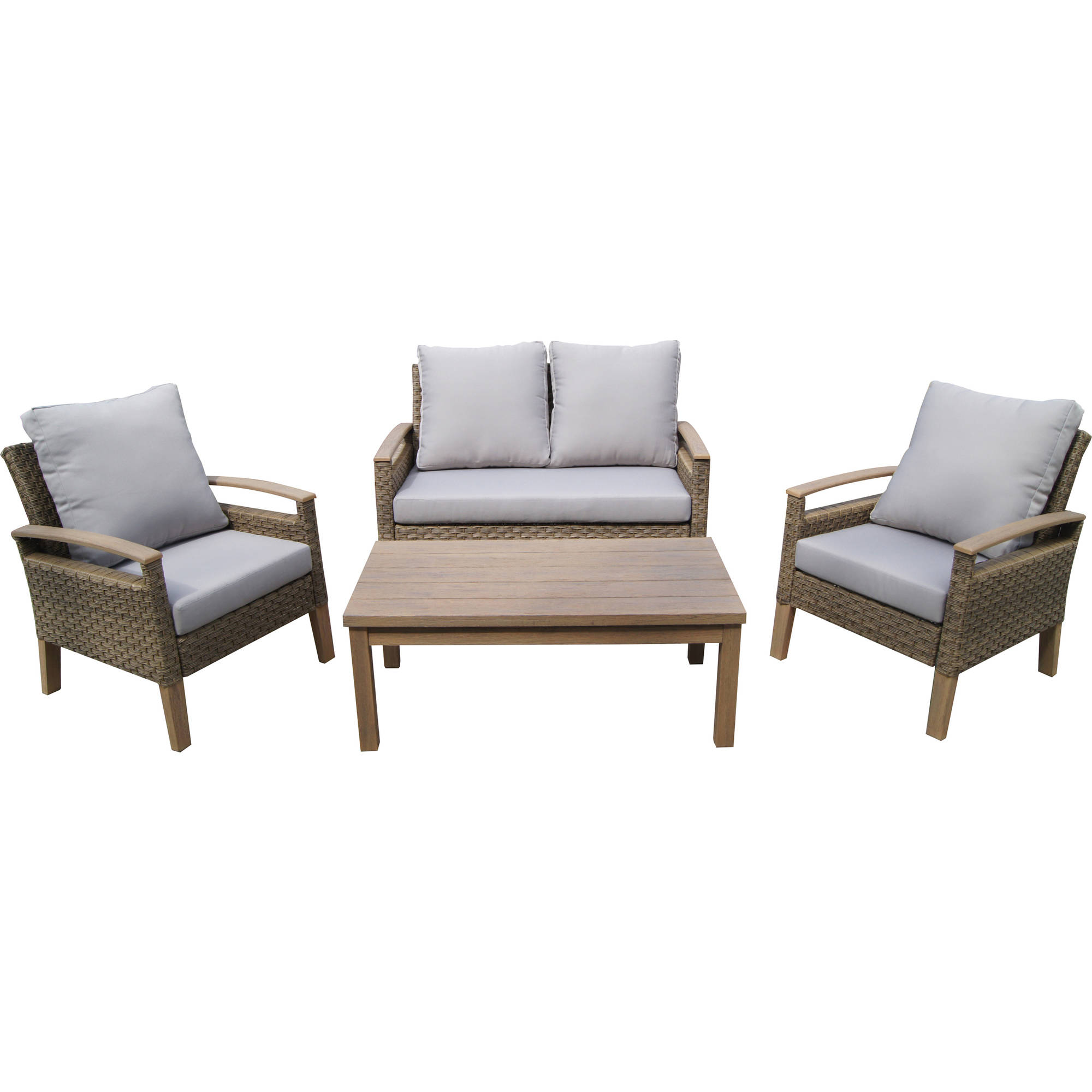 Incadozo 4-Piece Outdoor Wicker Conversation Set, Brown with Gray Cushions by