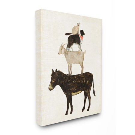 The Stupell Home Decor Collection Donkey Goat Dog and Cat Barnyard Friends Stacked Farm Animals Stretched Canvas Wall Art, 16 x 1.5 x 20 Cat Dog Art
