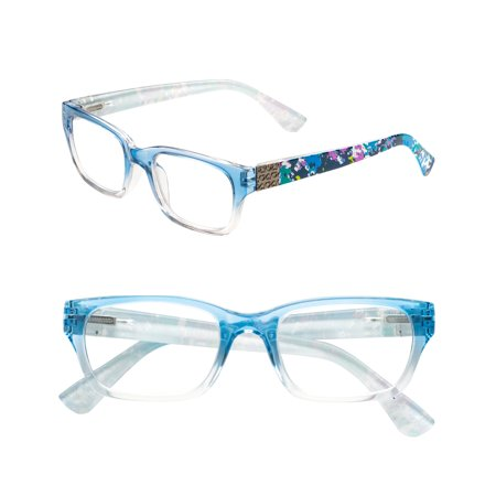 POP Fashionwear  Unisex Pastel Spring Hinge Floral Readers Blue 3 Blue (286 Glasses)