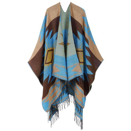 Interstate Womens Fringe (Women Cardigans Draped Fringed Abstract Patterned Poncho Wrap, Coffee blue )