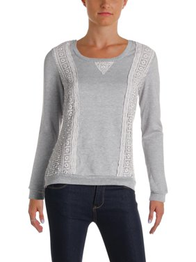 Product Image Self Esteem Womens Knit Crochet Trim Sweatshirt Gray M 865e91beb