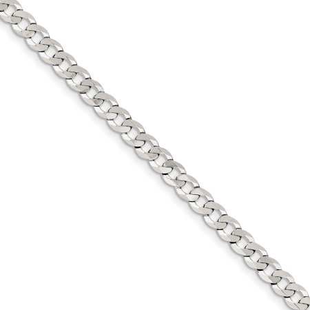 """.925 Sterling Silver 5.75mm Close Link Flat Curb Link Chain Necklace 16"""""""