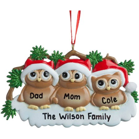 Personalized Owls In Santa Hats Ornament - Handprint Santa Ornament