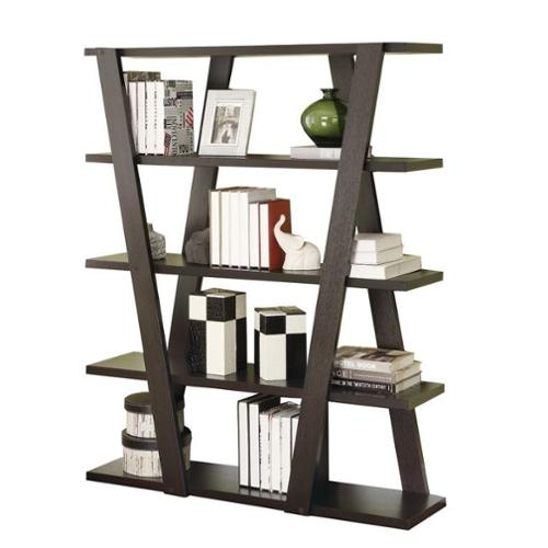 Coaster Bookshelf with 5 Open Shelves in Cappuccino