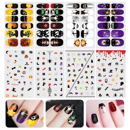 ETEREAUTY Halloween Luminous Nail Sticker Nail Art Decals Full Wrap Stickers Set - Nail Art Halloween Water Marble