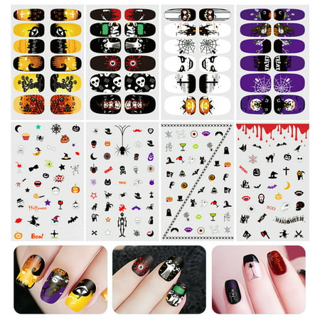 Halloween Painted Nails (ETEREAUTY Halloween Luminous Nail Sticker Nail Art Decals Full Wrap Stickers)