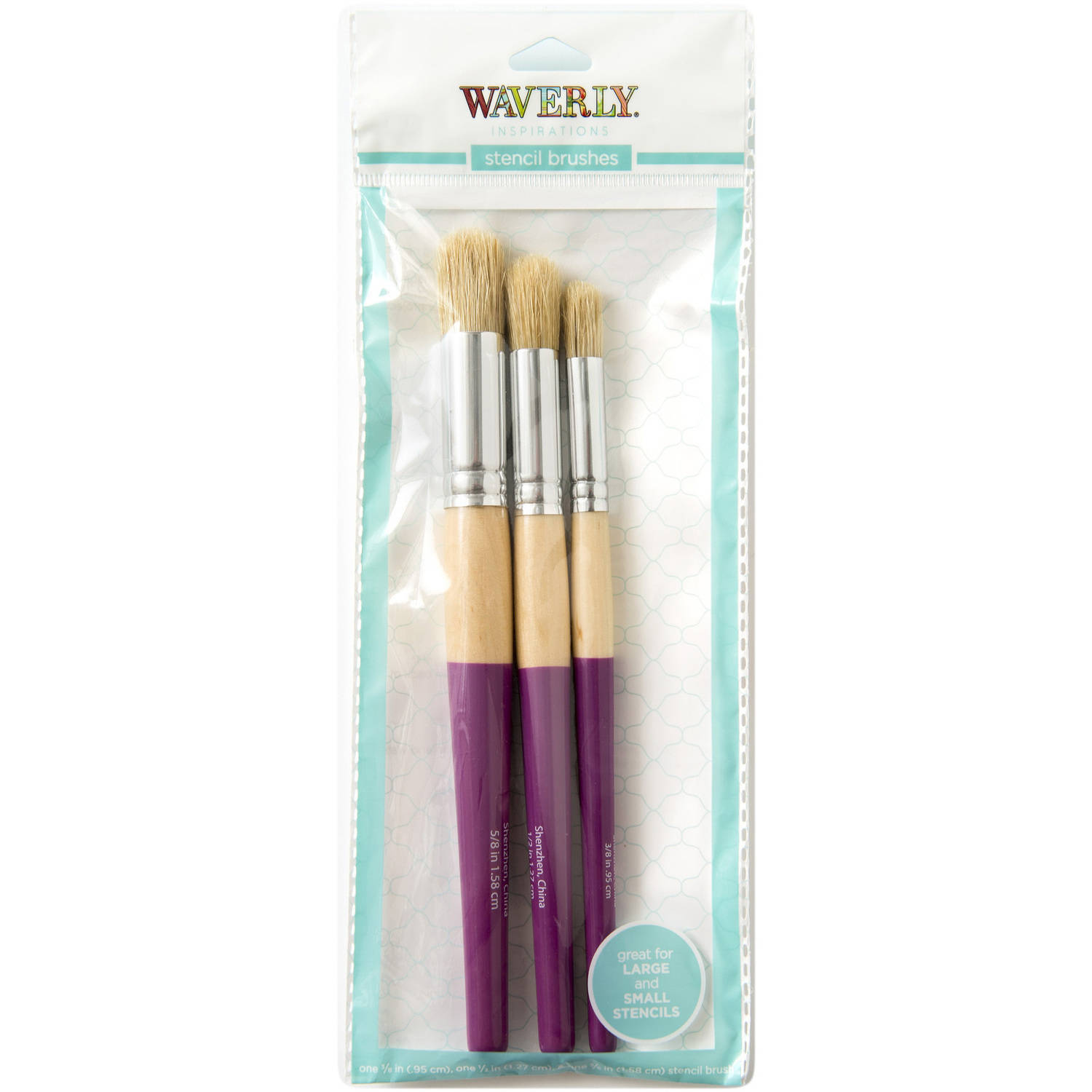 Waverly Inspirations 3-Piece Stencil Brush Set for Acrylic Paint