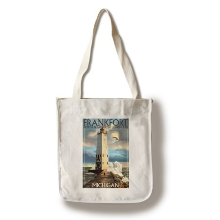 Frankfort Lighthouse, Michigan - Lantern Press Artwork (100% Cotton Tote Bag - Reusable)