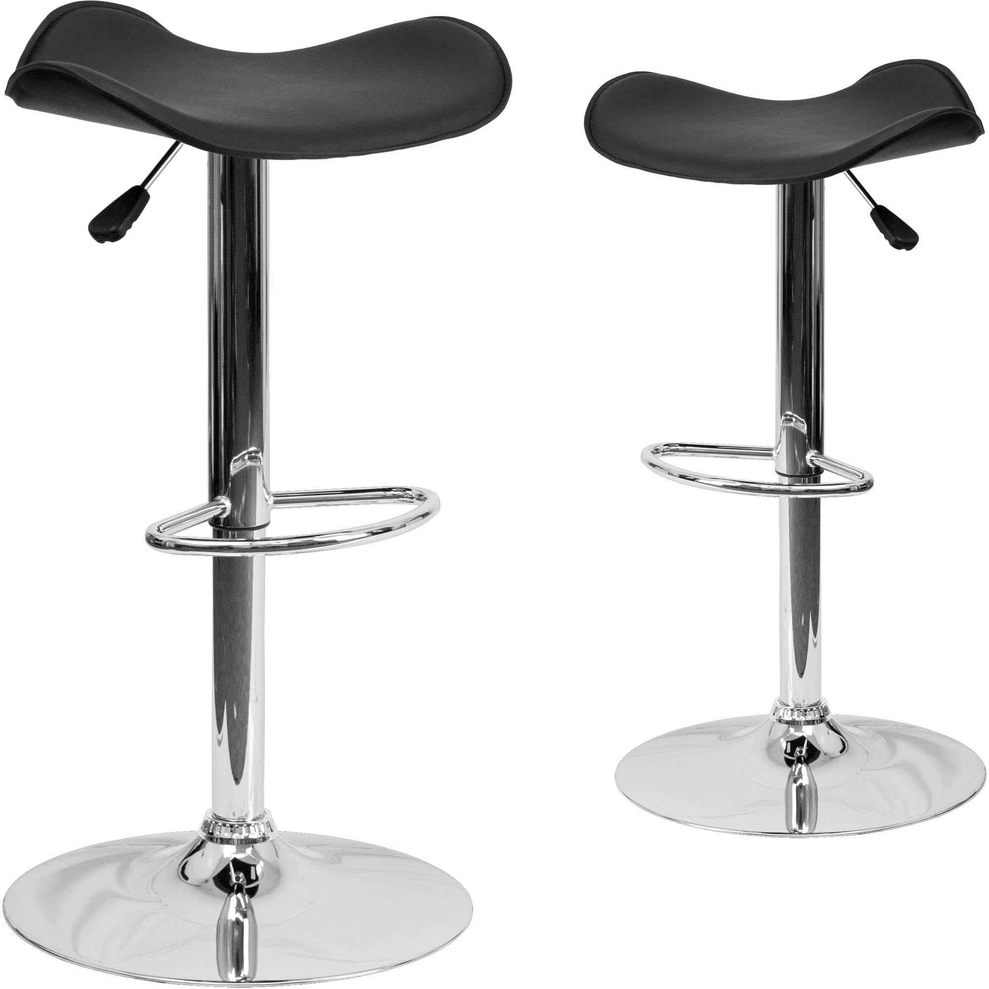 Flash Furniture 2pk Contemporary Vinyl Adjustable Height Barstool with Chrome Base, Multiple Colors