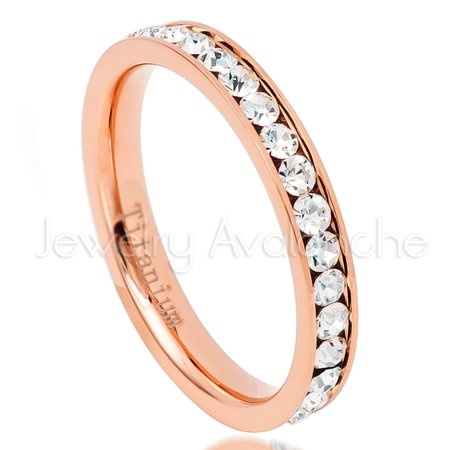 3mm Rose Gold Plated Titanium Eternity Ring Comfort Fit Wedding Band TM687PL 3mm Faceted Comfort Ring Band