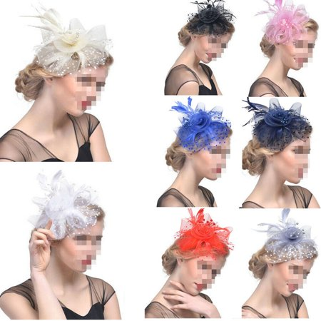 Women's Vintage Flower Feather Mesh Net Fascinator Hair Clip Hat Party Wedding (Peacock Fascinator)