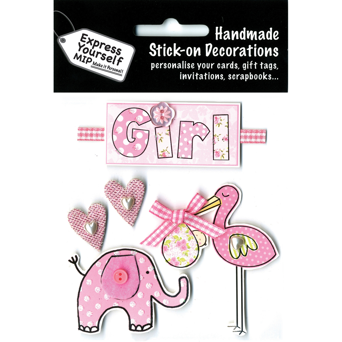 Express Yourself MIP 3D Stickers-Pink Stork & Elephant
