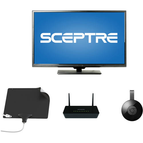 "Sceptre 40"" 1080p LED HDTV, Choice of Apple TV, Roku 2 or Chromecast, NETGEAR Wifi Router, Mohu Leaf Ultimate Bundle - Cut the Cable"