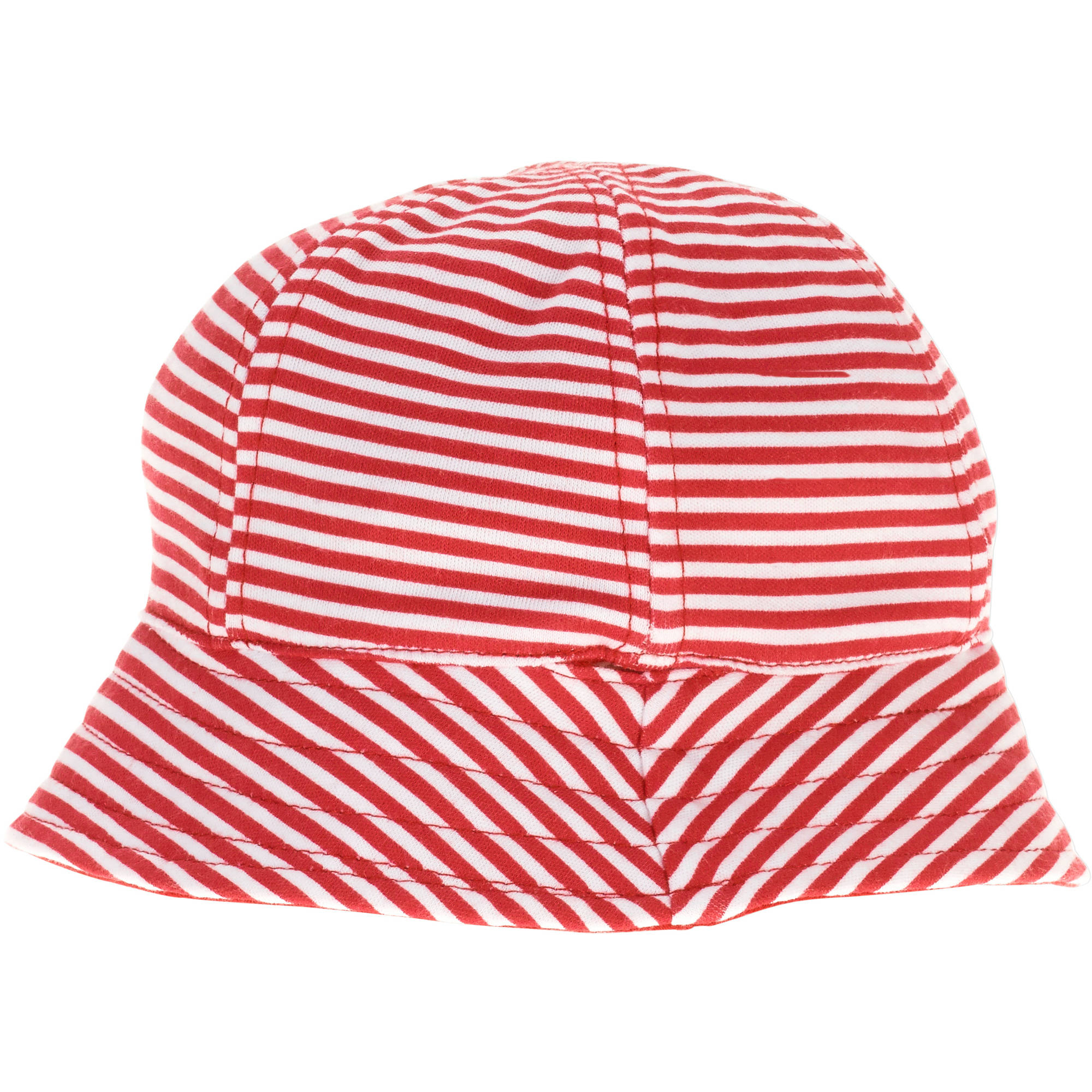 Infant Sun Hat Red Stripe Solid Design Reversible with Bow Upf 50+   6-12M