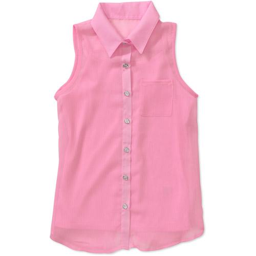 Besties Girls' Sleeveless Button Front Blouse Top
