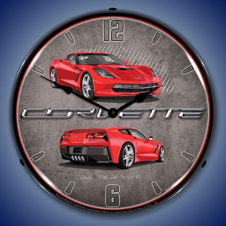 C7 Corvette Lighted Clock Torch Red by