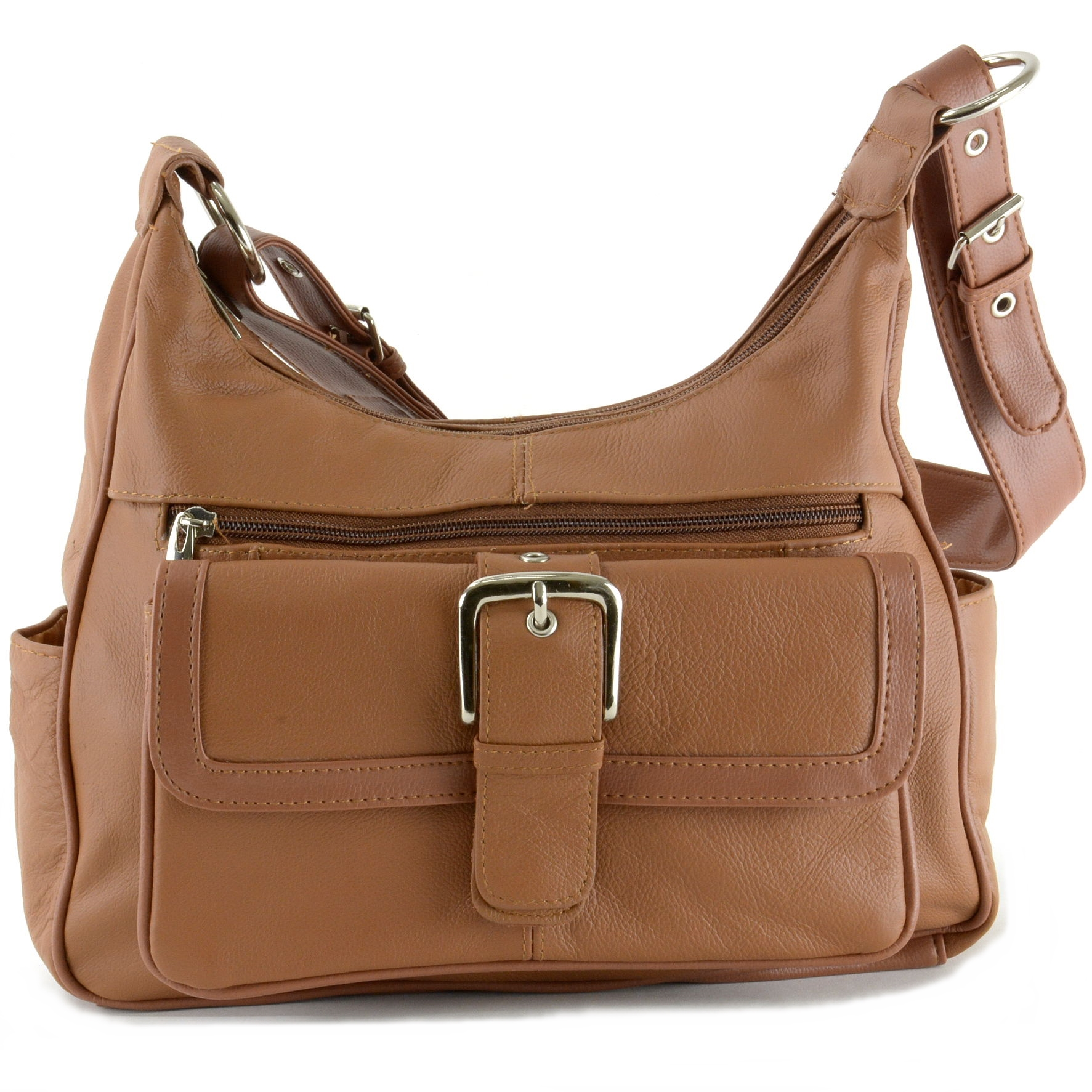 Women's Leather Organizer Purse Multi Pocket Handbag Shoulder Bag ...