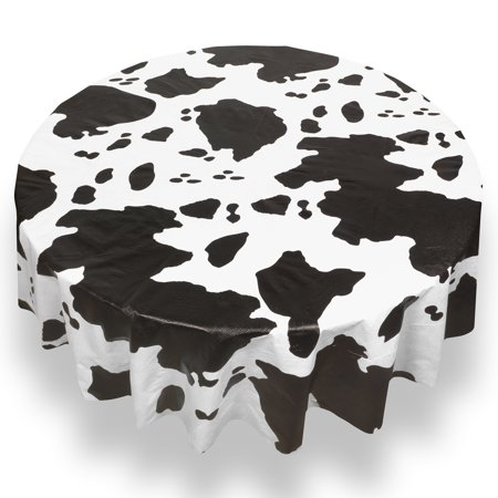 Cow Print Table Covers (Moo Cow Print Premum Quality Vinyl Flannel Back Tablecloth 70