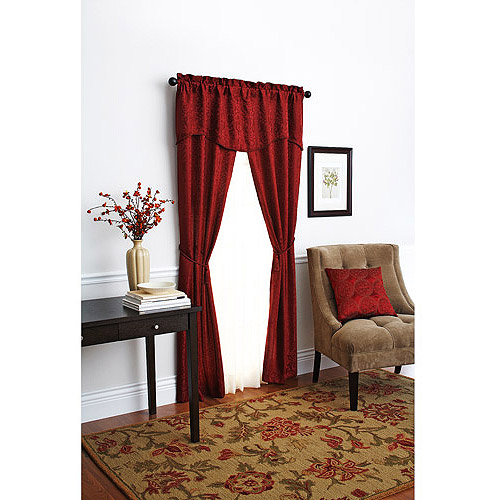 "Better Homes and Gardens 84"" Damask Scroll Window Set, Deep Redwood"