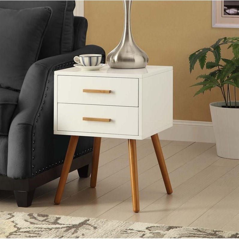 Convenience Concepts Oslo 2 Drawer End Table in White - image 3 of 3