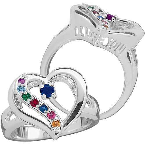Personalized Mother's Sterling Silver Birthstone Heart Ring
