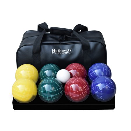 - Hathaway Deluxe Bocce Ball Set w/8 Bocce Balls, Pallino Ball, and Carry Bag - Multicolored