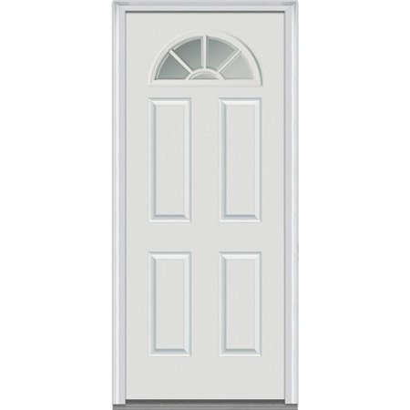 Front Entry Door - Verona Home Design Smooth Wagon Wheel Primed Fiberglass Prehung Front Entry Door