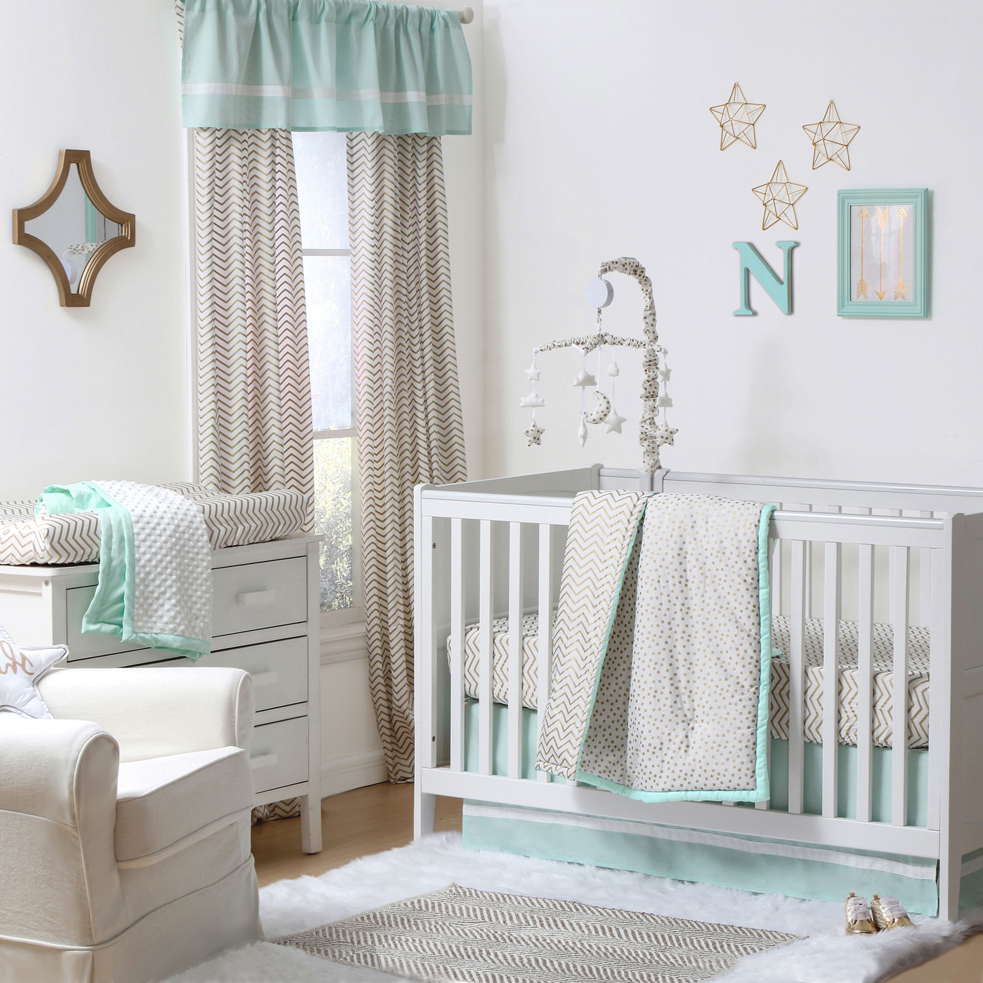 The Peanut Shell 4 Piece Baby Crib Bedding Set - Gold Zig Zag and Confetti Dots with Mint Green Trim - 100% Cotton Quilt, Dust Ruffle, Fitted Sheet, and Mobile