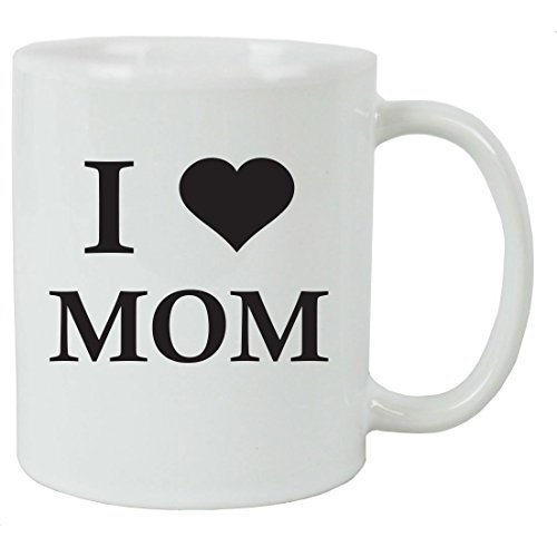 I Love Mom 11 oz White Ceramic Coffee Mug with FREE Gift Box - Great Gift for Mothers's Day Birthday or Christmas Gift for Mom Grandma Wife