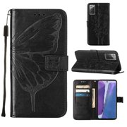 Galaxy S11 Case,Galaxy S20 Plus Wallet Case, Embossed Butterfly PU Leather Credit Card Holder Slots Protection Kickstand Flip Shockproof TPU Phone Cover for Samsung Galaxy S20 Plus/S11, Black