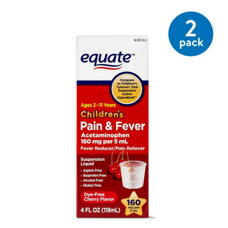 (2 Pack) Equate Childrens Acetaminophen Dye-Free Cherry Suspension, 160 mg 4 (Headache Acetaminophen)