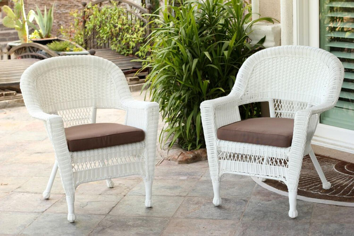 Set Of 2 White Resin Wicker Outdoor Patio Garden Chairs   Mocha Brown  Cushions