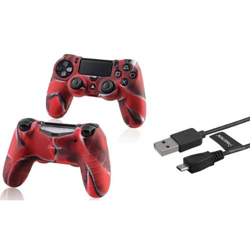 Insten Black 6FT Micro USB Data Cable Charger+Camouflage Navy Red Case Cover for Sony PS4 Playstation 4